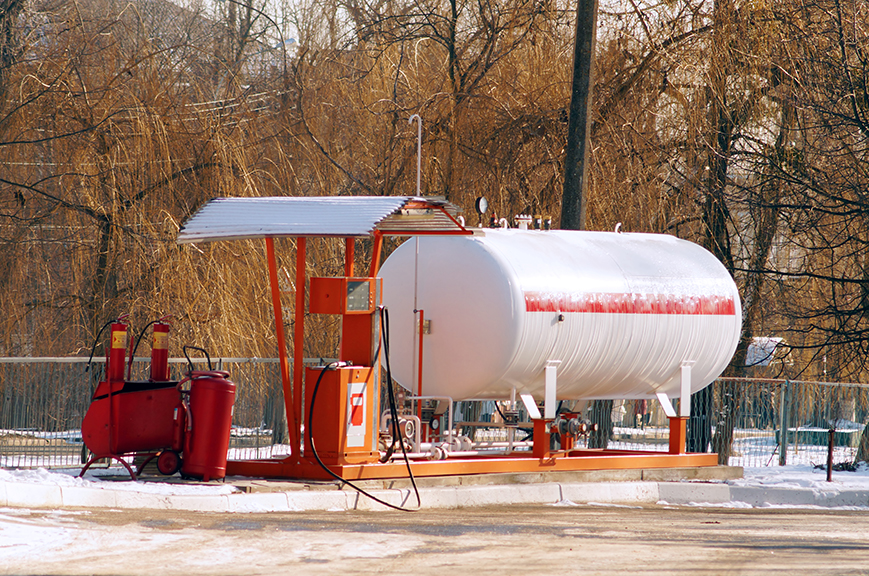 Liquid propane gas station. LPG station for filling liquefied propane gas into the vehicle tanks. Environmentally friendly fuel. Winter view.